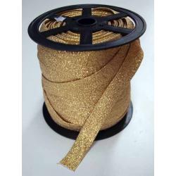 Lamówka Atłas zaprasowana BROKAT 25mm złoty ciemny